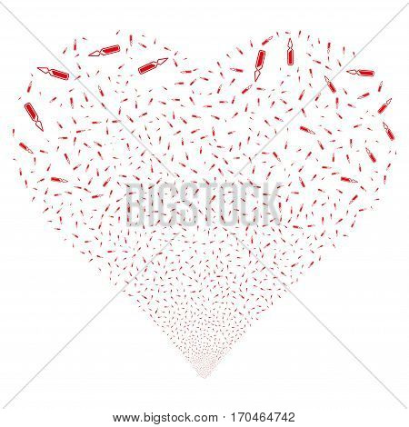 Ampoule fireworks with heart shape. Vector illustration style is flat red iconic symbols on a white background. Object valentine heart constructed from scattered pictograms.