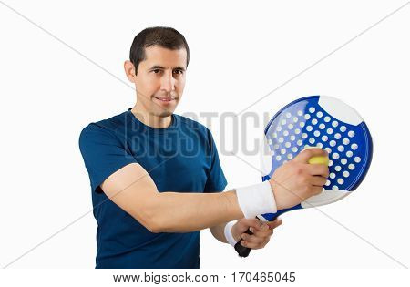 paddle tennis player isolated over white background