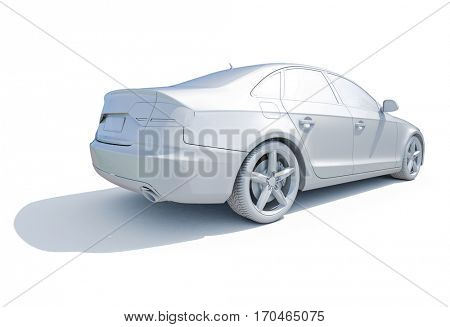 3d render: Car White Blank Template, 3d White Car Icon with Shadow, Business Sedan Car on White Background, Car Isolated, Automobile Isolated, Automobile Service Sign, Auto Body, Automobile Industry