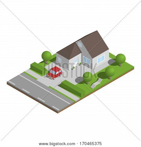 Isometric suburban house with garden and car.