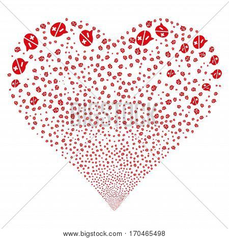 Arguments fireworks with heart shape. Vector illustration style is flat red iconic symbols on a white background. Object valentine heart created from scattered icons.