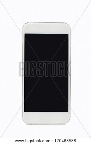 closeup of white smartphone on white background
