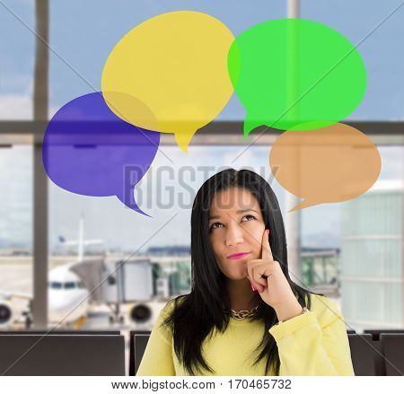 woman having ideas at the lounge of the airport. All screen content is designed by me and not copyrighted by others and created with wacom tablet and ps