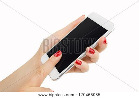 woman hand holding a smartphone with painted nails manicure in red