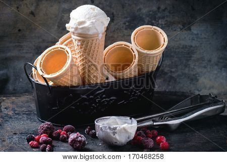 Ice Cream In Wafer Cones