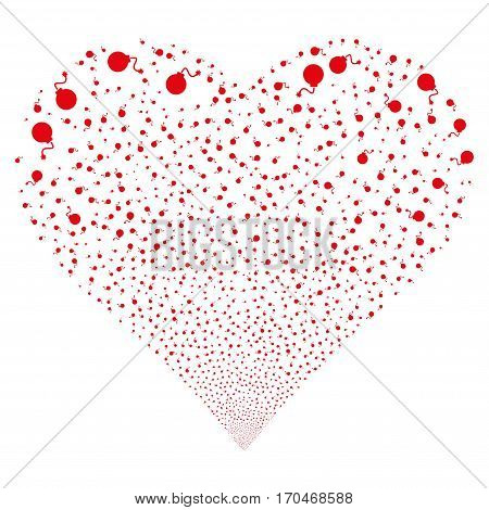 Bomb fireworks with heart shape. Vector illustration style is flat red iconic symbols on a white background. Object salute organized from scattered icons.