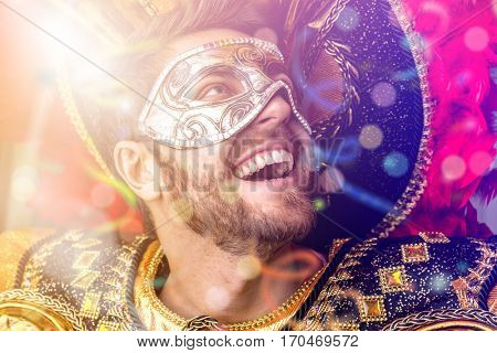 Brazilian guy wearing carnival costume.