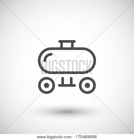 Trailer tank line icon isolated on grey. Vector illustration