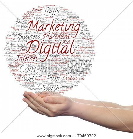 Concept or conceptual digital marketing seo or traffic circle word cloud in hand isolated on background metaphor to business, market, content, search, web, push, placement, communication or technology