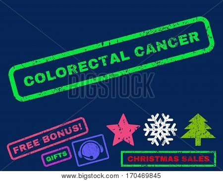 Colorectal Cancer text rubber seal stamp watermark with additional bonus christmas symbols. Tag inside rectangular banner with grunge design and unclean texture.