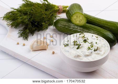 Tzatziki Sauce And Ingredients.