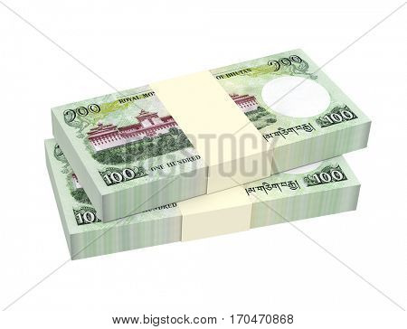 Bhutanese money isolated on white background. 3D illustration.