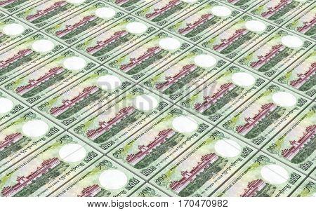 Bhutanese ngultrum bills stacks background. 3D illustration.