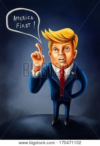Jan.2, 2017: Cartoon caricature of President Donald Trump with index finger pointed up told in his inaugural speech America first