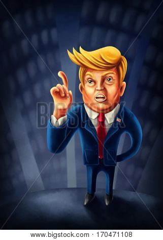 Jan.2, 2017: Cartoon caricature of President Donald Trump with index finger pointed up