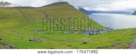 Panorama of Funningur on the Faroe Islands
