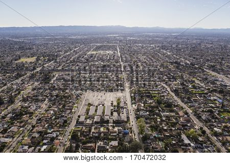 Aerial view of afternoon haze over the San Fernando Valley in Los Angeles California.
