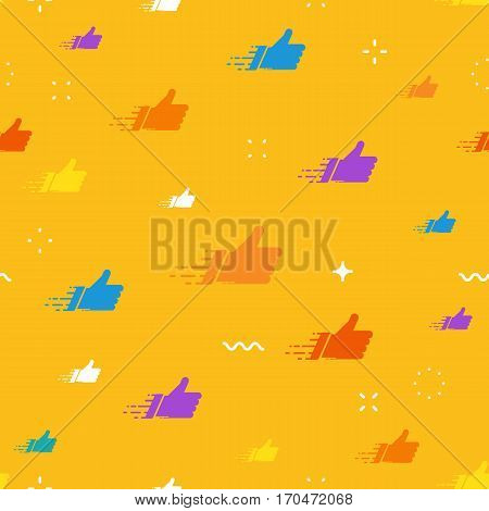 Networks concept for social media banners. Colorful vector composition with cloud of likes
