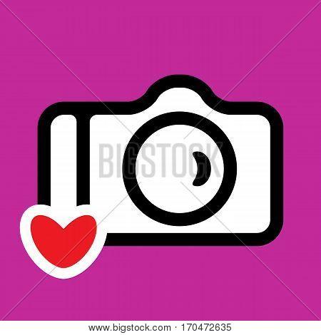 Photo Camera Icon Isolated. Snapshot Sign. Photocamera Logo For Web Design Advertising Printing