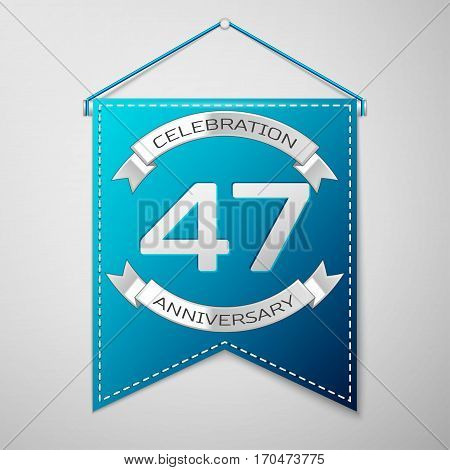 Blue pennant with inscription Forty seven Years Anniversary Celebration Design over a grey background. Silver ribbon. Colorful template elements for your birthday party. Vector illustration