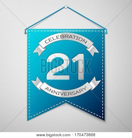 Blue pennant with inscription Twenty one Years Anniversary Celebration Design over a grey background. Silver ribbon. Colorful template elements for your birthday party. Vector illustration