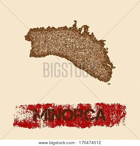 Minorca Distressed Map. Grunge Patriotic Poster With Textured Island Ink Stamp And Roller Paint Mark