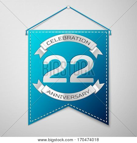 Blue pennant with inscription Twenty two Years Anniversary Celebration Design over a grey background. Silver ribbon. Colorful template elements for your birthday party. Vector illustration
