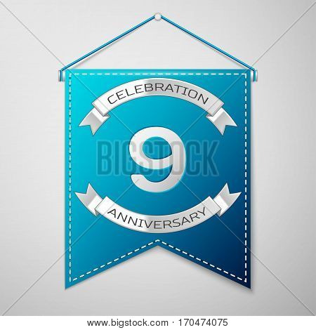 Blue pennant with inscription Nine Years Anniversary Celebration Design over a grey background. Silver ribbon. Colorful template elements for your birthday party. Vector illustration