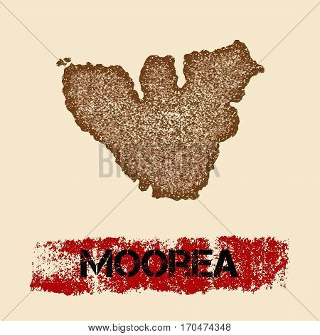Moorea Distressed Map. Grunge Patriotic Poster With Textured Island Ink Stamp And Roller Paint Mark,