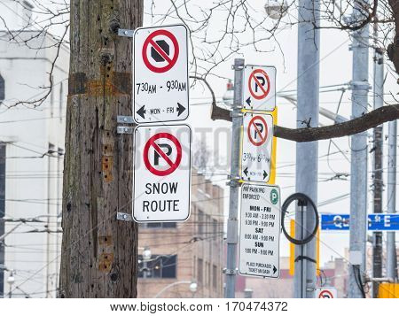 North American no parking signs in Toronto, Ontario, Canada