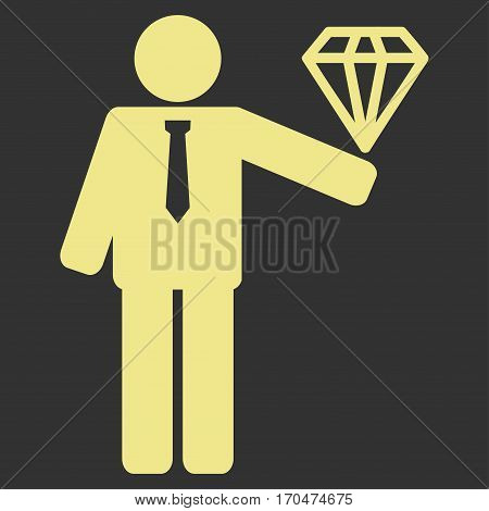 Groom Diamond vector icon symbol. Flat pictogram designed with khaki yellow and isolated on a gray background.