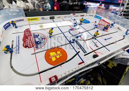 Moscow, Russia - January 25.2015. Table hockey game is with an advertising various shops