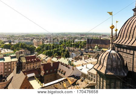 Overlooking the centre of Krakow and ancient european architecture, Poland, bird's-eye view