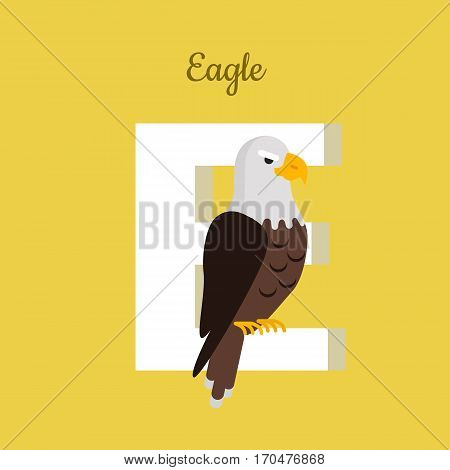 Animals alphabet. Letter - E. Big bald eagle sits on letter. Alphabet learning chart with animal illustration for letter and animal name. Vector zoo alphabet with cartoon animal on yellow background