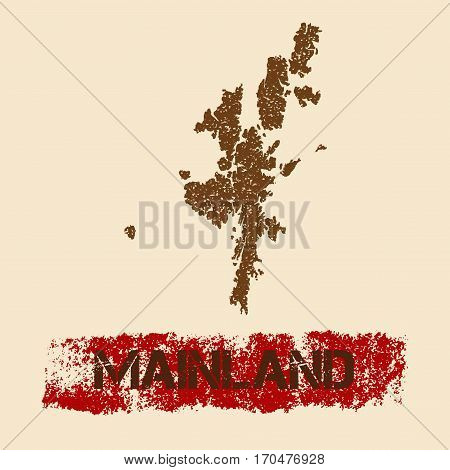Mainland Distressed Map. Grunge Patriotic Poster With Textured Island Ink Stamp And Roller Paint Mar