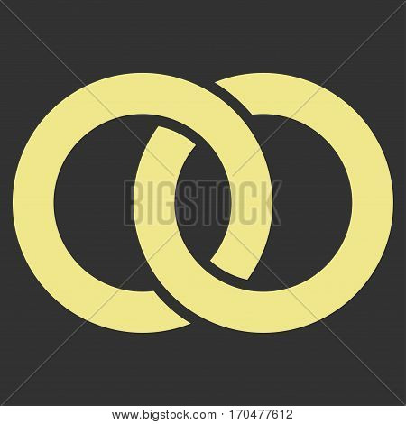 Wedding Rings vector icon symbol. Flat pictogram designed with khaki yellow and isolated on a gray background.