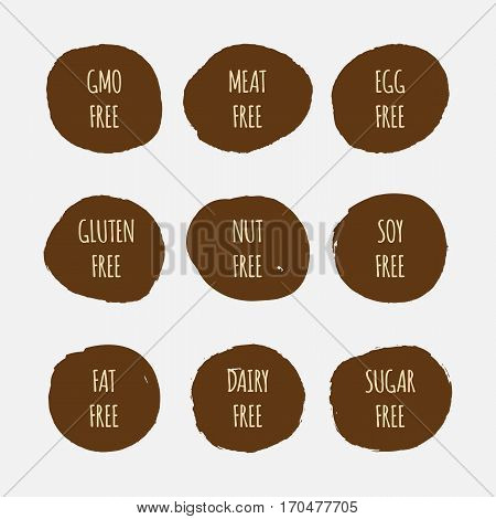 Set of allergen free stickers. GMO soy meat egg gluten nut fat dairy sugar. Grunge.