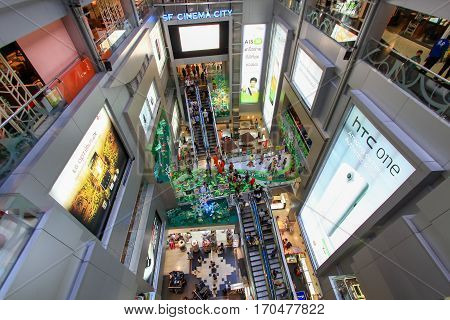 Bangkok, Thailand - June 05, 2012: Interior design in center of MBK Center Shopping Mall in Siam Square area, popular mall with many tourists and shoppers