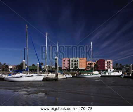 low tide in the marina at fernandina beach, florida poster