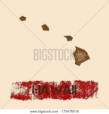 Hawaii Distressed Map. Grunge Patriotic Poster With Textured State Ink Stamp And Roller Paint Mark,