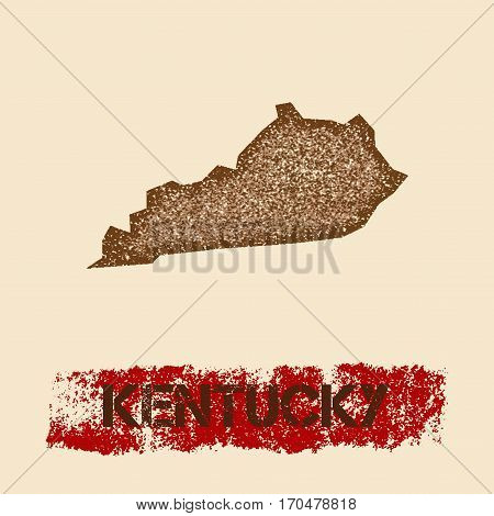 Kentucky Distressed Map. Grunge Patriotic Poster With Textured State Ink Stamp And Roller Paint Mark
