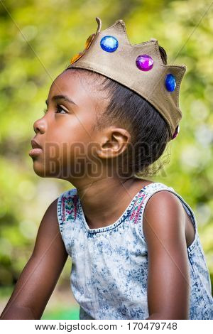 Little girl wearing a king crown on a sunny day