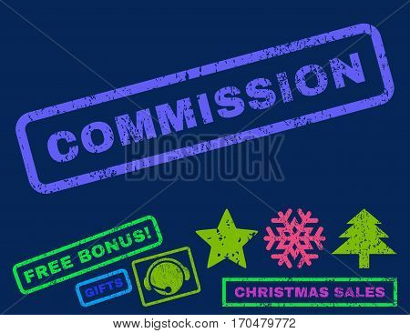 Commission text rubber seal stamp watermark with additional bonus christmas symbols. Caption inside rectangular shape with grunge design and unclean texture.