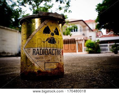 Old Radioactive material container in the city
