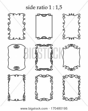 Vector set of rectangular outline frames isolated on white background. Linear borders in modern and vintage style for design greeting cards certificates invitations