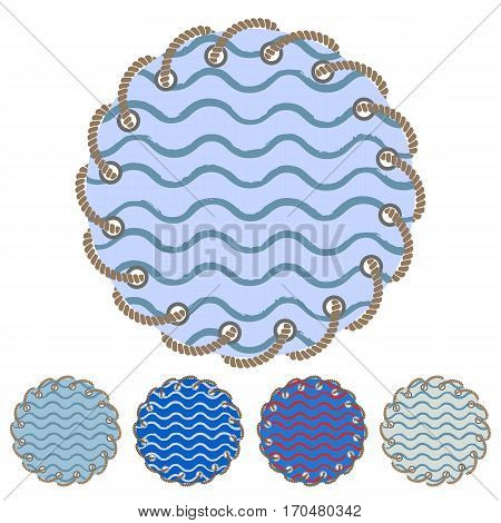 Vector set of round stickers and labels with the through holes twisted braided rope in a flat style. Collection of isolated elements with pattern of the sea waves painted by hand with acrylic ink. Design banners invitations greeting cards