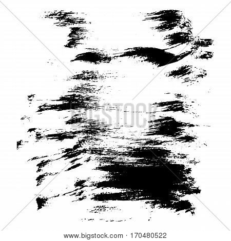 Vector monochrome background with isolated grunge blot texture. Trace the blots hand-drawn acrylic ink on a white background. For the design effect of smear paint creative decoration illustration