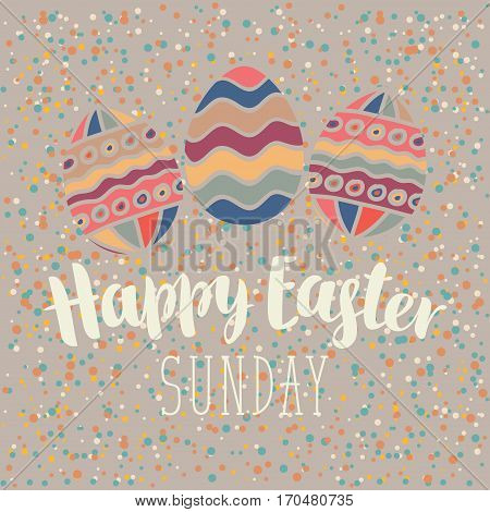 vector greeting card with Easter eggs sunday