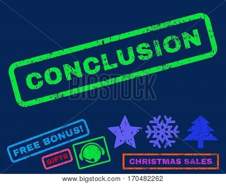 Conclusion text rubber seal stamp watermark with additional bonus christmas symbols. Caption inside rectangular shape with grunge design and unclean texture.