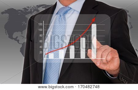 Man with performance uptake chart - successful business